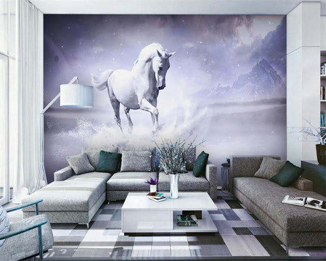 Horse wall murals Wallpaper white horses galloping run photo wallpaper living room bedroom 3d girls room fantasy