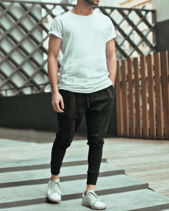 Man wearing, Crew neck t-shirt and stretchable joggers, men.