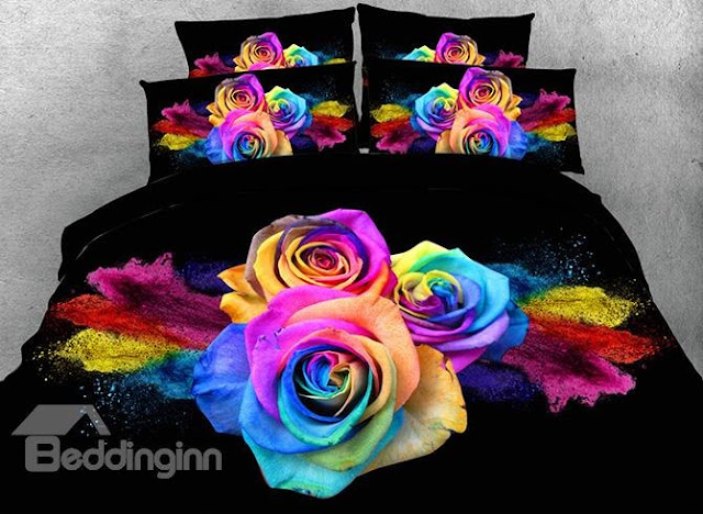 Beddinginn-Onlwe 3D Pink and Yellow Tulip Printed 4-Piece Yellow Bedding Sets3D Colorful Roses Printed Cotton 4-Piece Bedding Sets/Duvet Covers