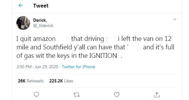 Amazon driver abandons delivery van, says he quits in viral tweet #Arewapublisize