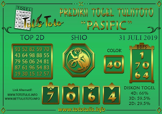 Prediksi Togel PASIFIC TULISTOTO 31 JULI 2019