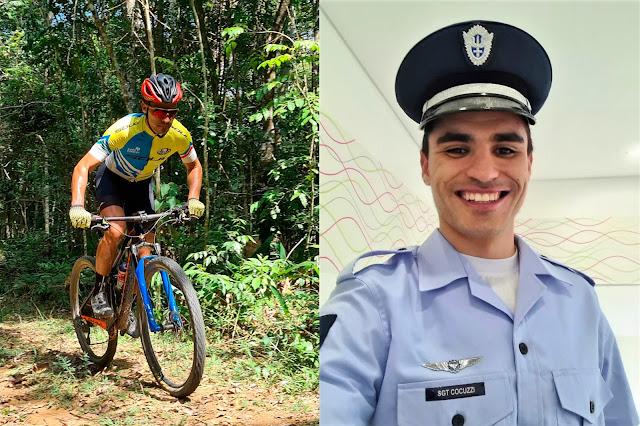 Luiz Henrique Cocuzzi como biker e em outra como sargento da FAB