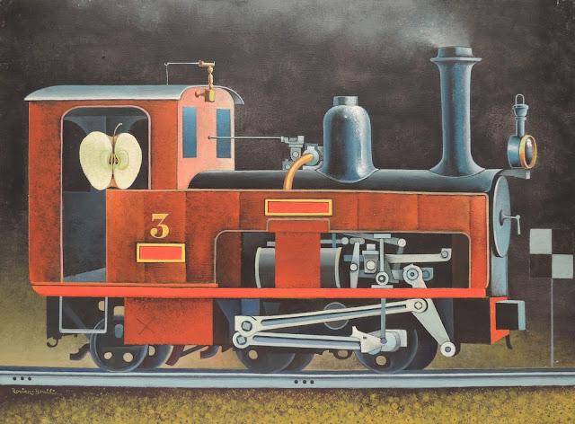 Josep Maria Rovira Brull Pintura surrealista tren locomotive