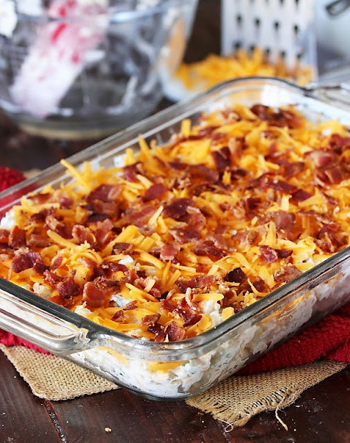 Cauliflower {Just Like} Loaded Baked Potato Casserole Topped with Bacon Image