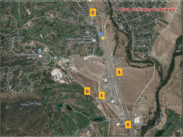 En el mapa acceso al Jarama se pueden ver las zona de parking D y cuando se llena, B
