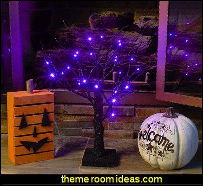 Spooky Halloween Tree with Purple LED Lights