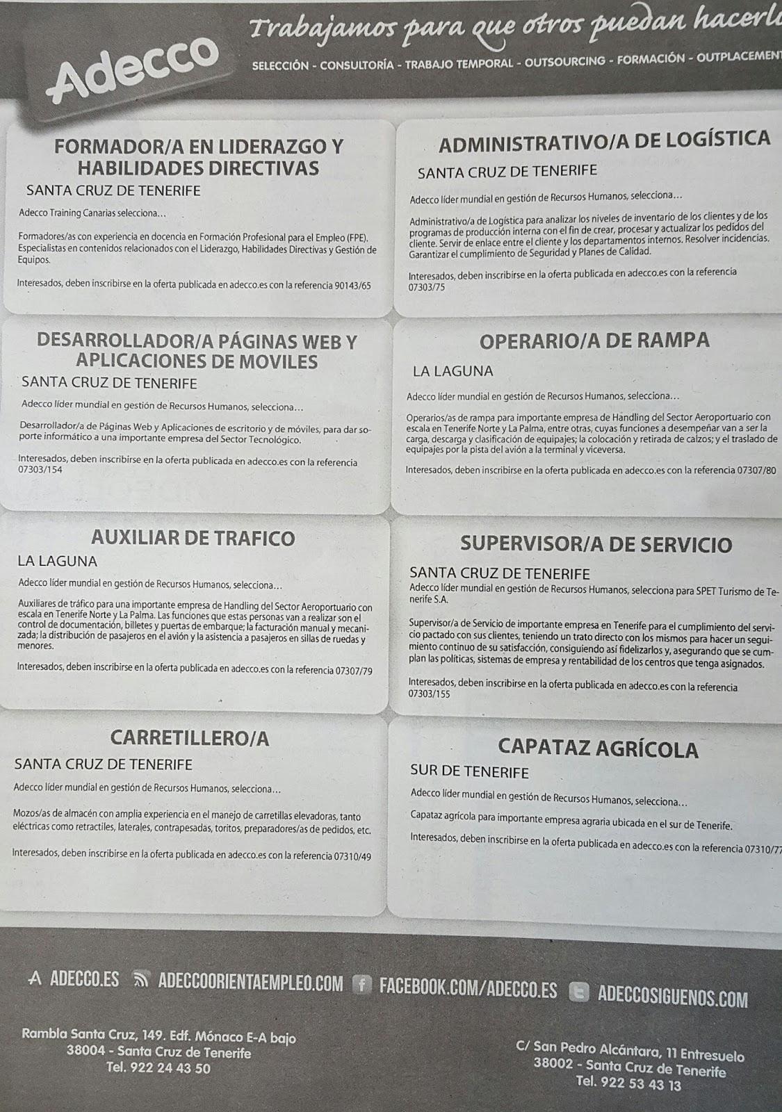 Fpempleo 8 Ofertas De Empleo En Tenerife Adecco