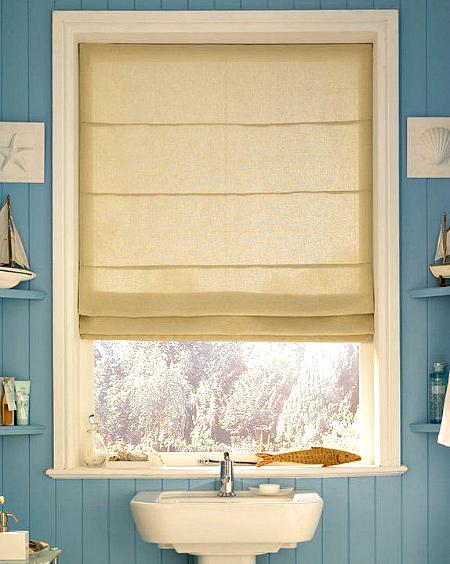 Sandy Beige Roman Shades Bathroom