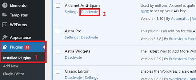 Cara Menghapus Plugin WordPress Melalui Dashboard