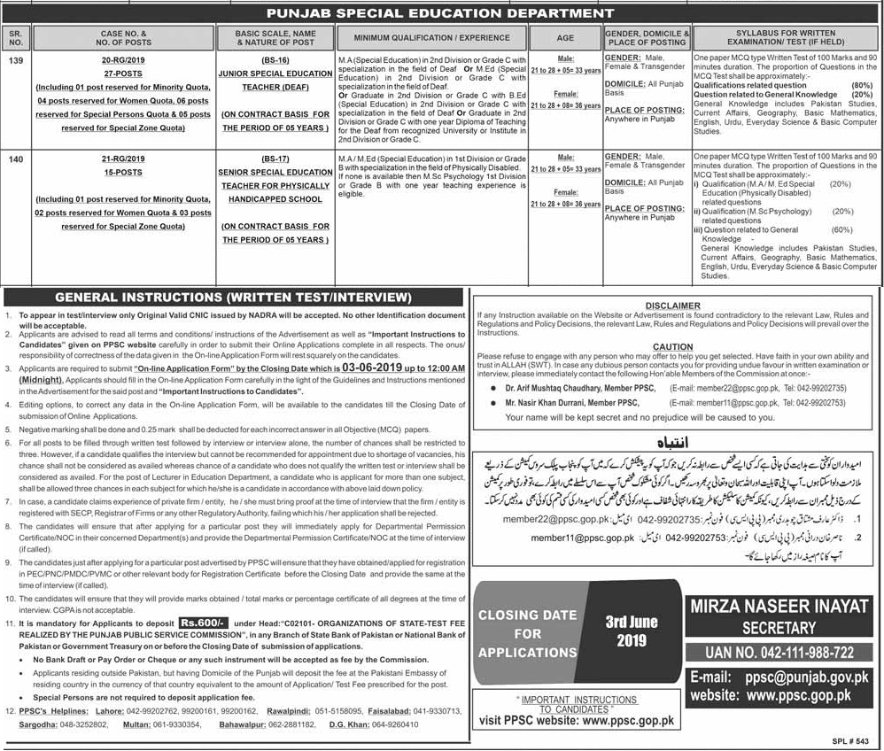 Jobs in Special Education Department 2019 Advertisement via PPSC