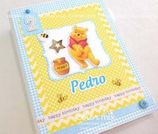 álbum scrapbook fotos aniversário menino ursinho pooh bebê