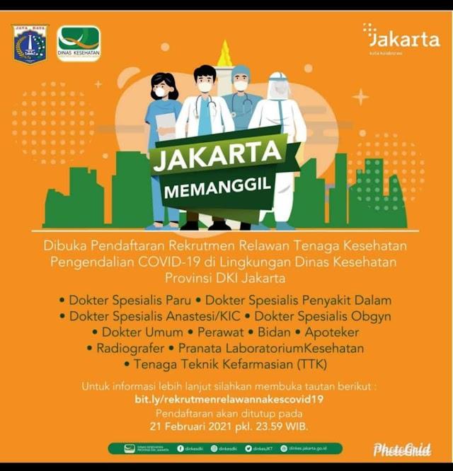 Dibuka Pendaftaran Rekrutmen Relawan Tenaga Kesehatan Pengendalian COVID-19 di Lingkungan Dinas Kesehata Provinsi DKI Jakarta
