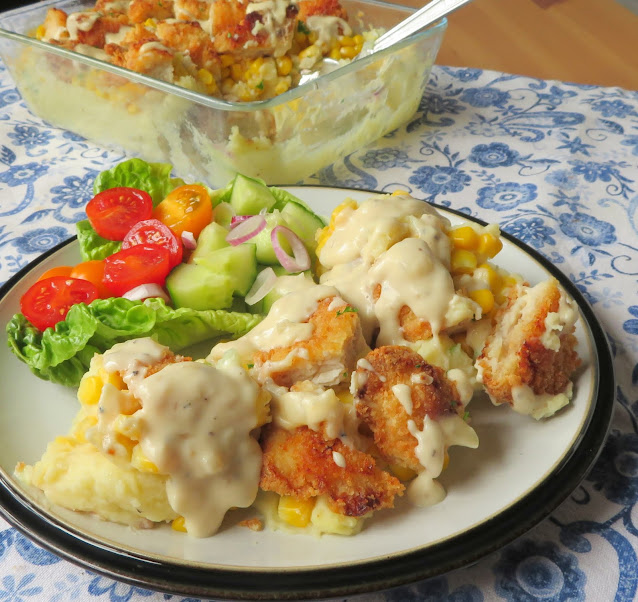 Crispy Chicken with Cheesy Mash & Cream Gravy