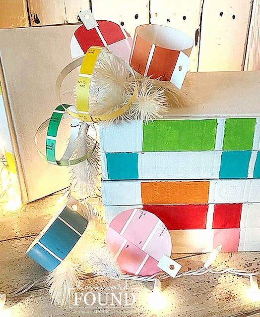 art class, Christmas, Christmas Decor, Christmas Decor Themes, Christmas tree, color, color palettes, colorful home, crafting, DIY, diy decorating, holiday, paper crafts, tutorial,ornaments,decorating,paint chips,paint chip ornaments,paper ornaments,roygbiv, rainbow aesthetic,Christmas tree ornaments