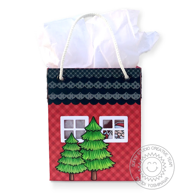 Sunny Studio Stamps: Sweet Treats Holiday Christmas Gift Bag with House Add-on (using Seasonal Trees & Santa Claus Lane Stamps and Classic Gingham & Heroic Halftones 6x6 Patterned Paper)