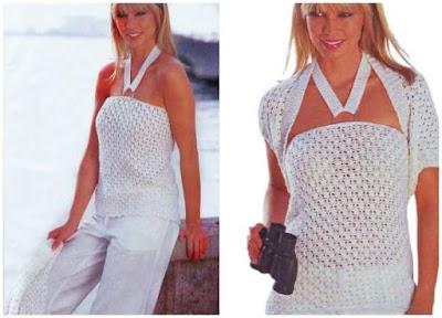 Top collar de verano con bolero a crochet