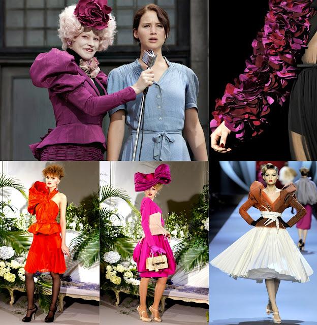 The Hunger Games Fashion - In senso orario/Clockwise: Miss Effie Trinket; Gucci FW2011; Dior HC SS2011, Dior HC FW2009