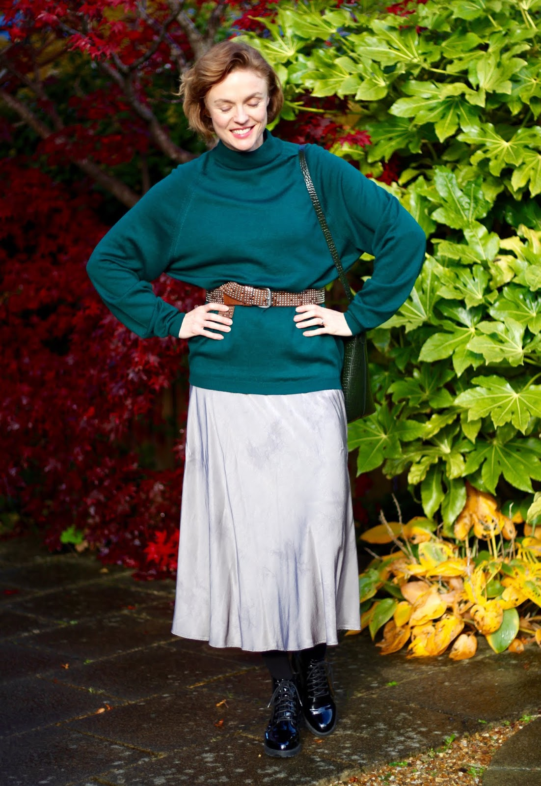 Autumn Outfit | Grey Slip Dress and Green Knit | Re-style | Fake Fabulous