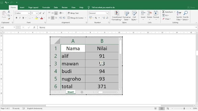 menambahkan tabel di microsoft word