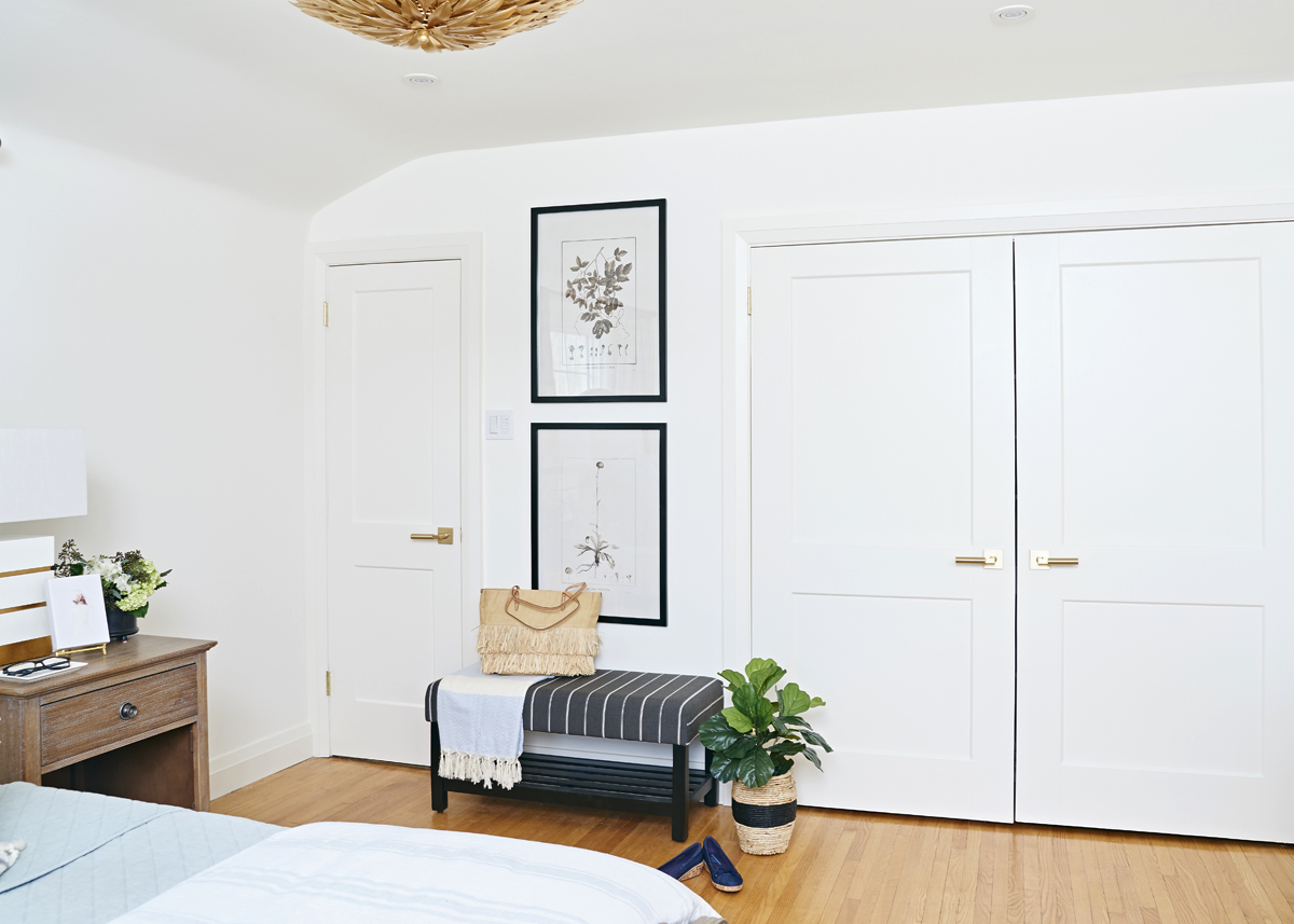 calm neutral master bedroom, Rambling Renovators, striped bench, double closet doors