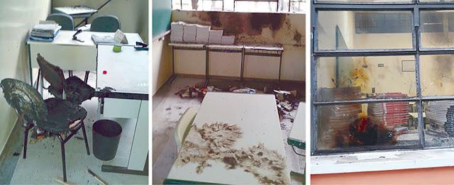 """Escola em Altair é incendiada e tem pichação do """"Estado  Islamico"""""""