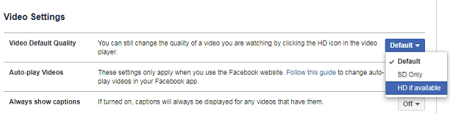 facebook hd and sd video quality