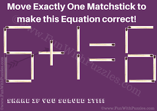 Answer of Matchstick Puzzle for Kids