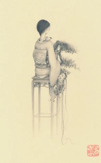 by Ozabu, Bonsai Girl 懸崖 (Kengai), 2019 | imagenes dibujos de mujeres a lapiz | soledad, tristeza, depresion femenina bonitos | woman art | girl with flowers