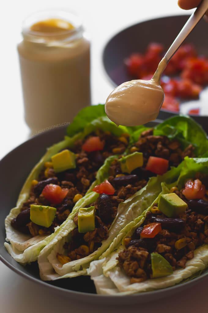 Vegan Tacos and Vegan Sour Cream   danceofstoves.com