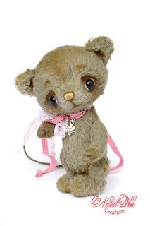 Artist teddy mouse, ooak teddy, artist mouse, handmade mouse, teddies with charm, Künstlerteddy, Teddy Maus, NatalKa Creations