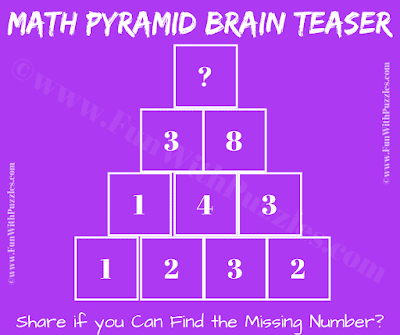 This is Maths Pyramid Puzzle to exercise your brain in which you have to calculate the missing number on the top of the pyramid