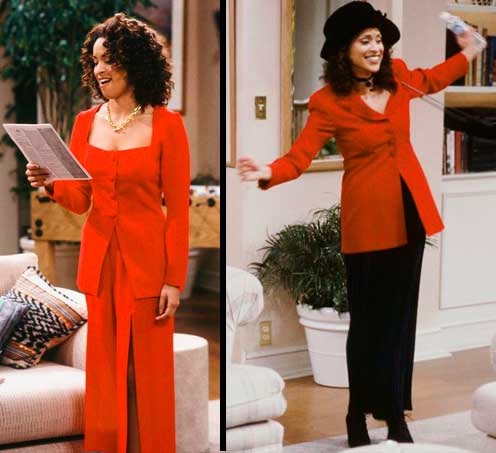 Hilary Banks com macacao vermelho e ao lado casaco