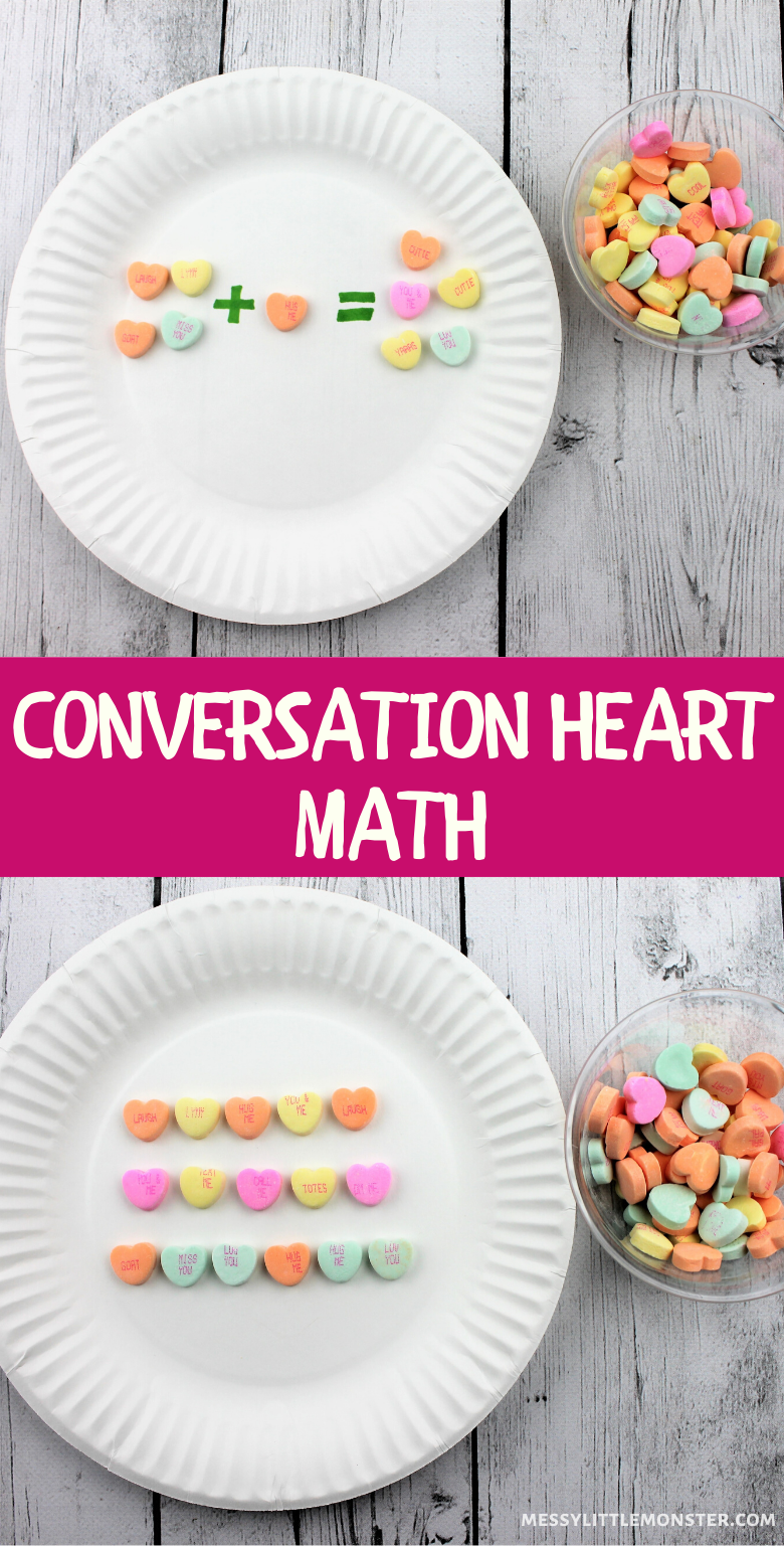 Valentine Math for preschoolers. Conversation heart math activity.