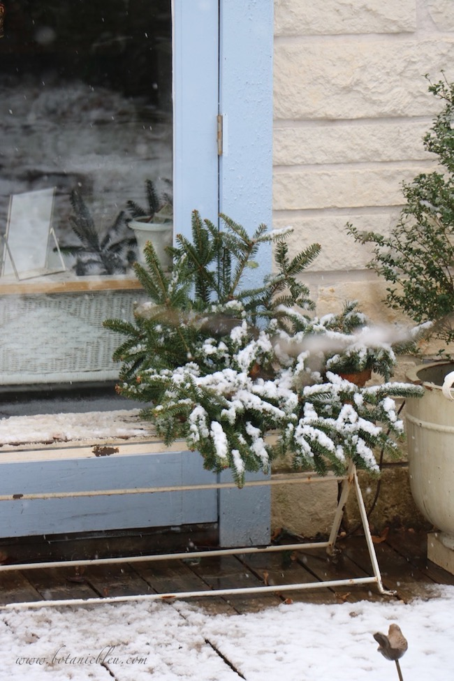 Snow covered a large evergreen wreath lying on the bench on the porch of the French country garden shed