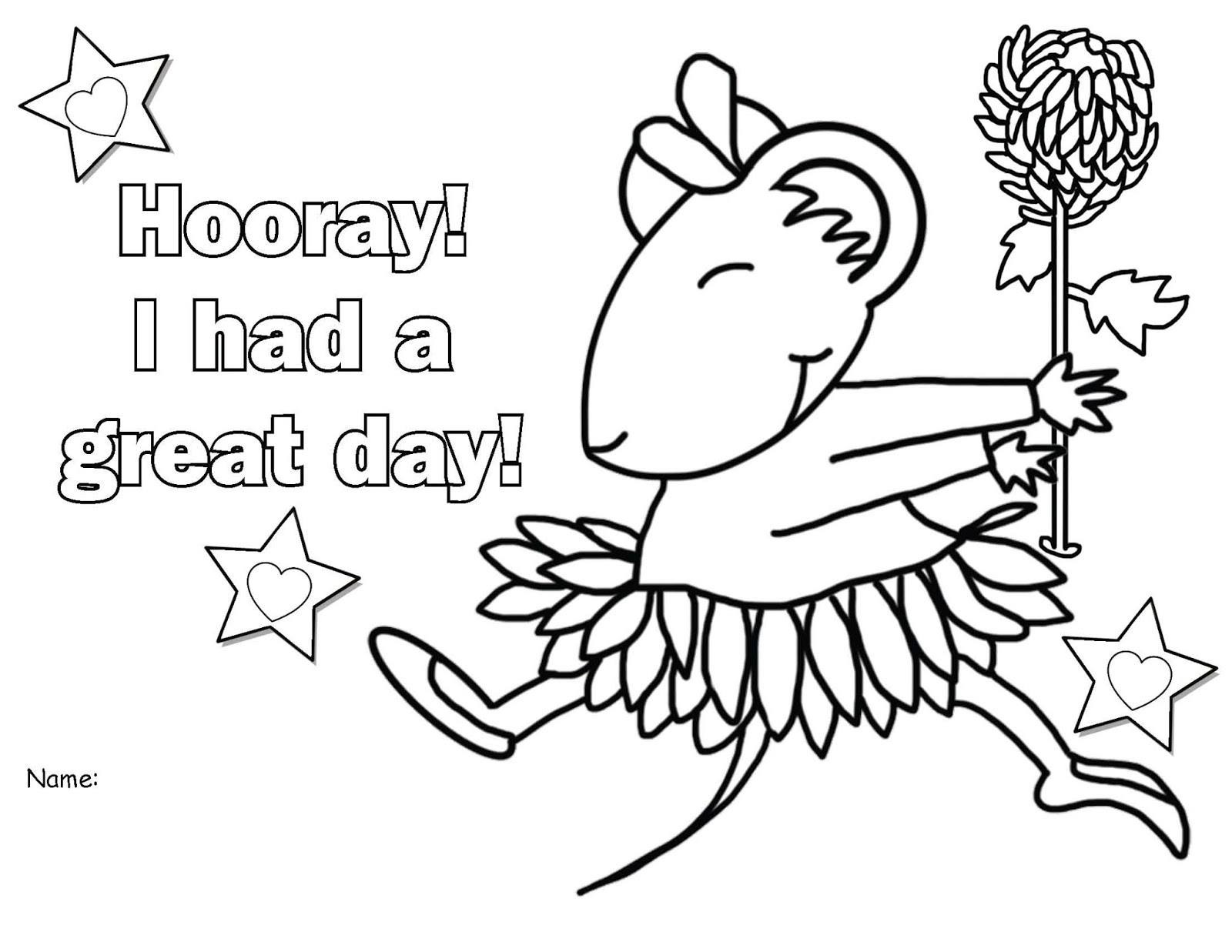 Hooray For A Great Day Back To School Color Me Worksheets