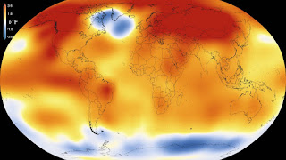 Worldwide temperature rise due to global warming