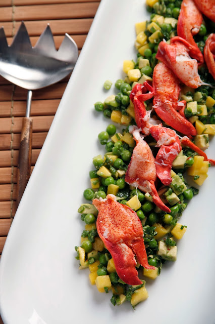 lobster, mango, peas, salad, Food is What I Do, Chef JJ, Christopher Stewart