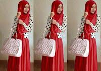 setelan muslim  Shireen set merah