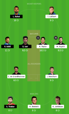 IND vs NZ Dream11 team prediction