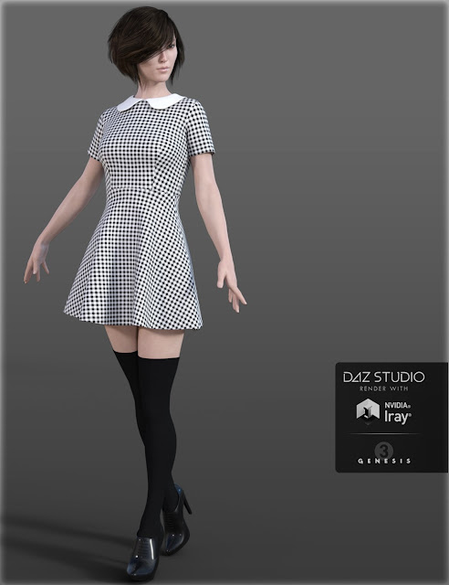 HC Peter Pan Collar Dress for Genesis 3 Female