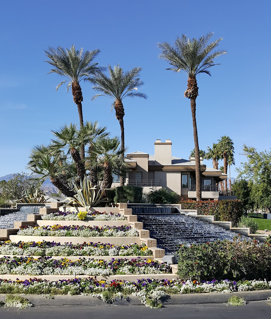 Urban Nature Design with Floral Water Fountain Palm Springs