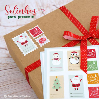 etiqueta presente natal selo postal