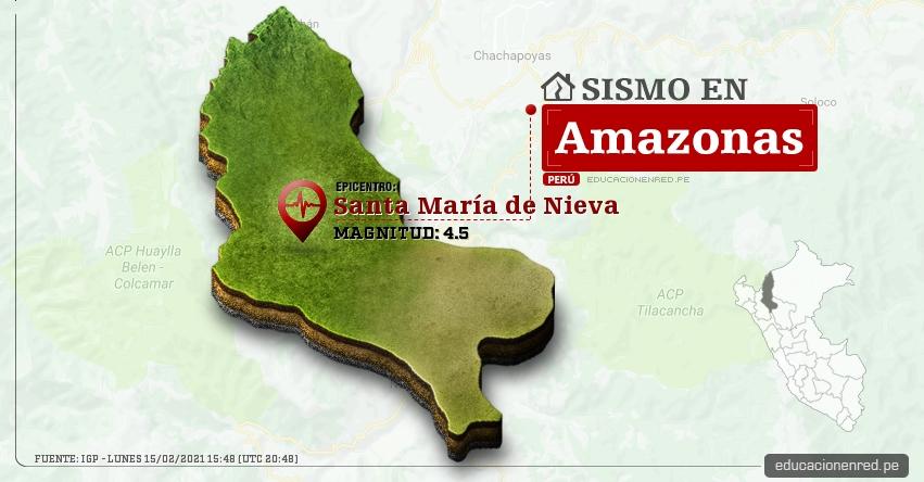 Temblor en Amazonas de Magnitud 4.5 (Hoy Lunes 15 Febrero 2021) Sismo - Epicentro - Santa María de Nieva - Condorcanqui - IGP - www.igp.gob.pe
