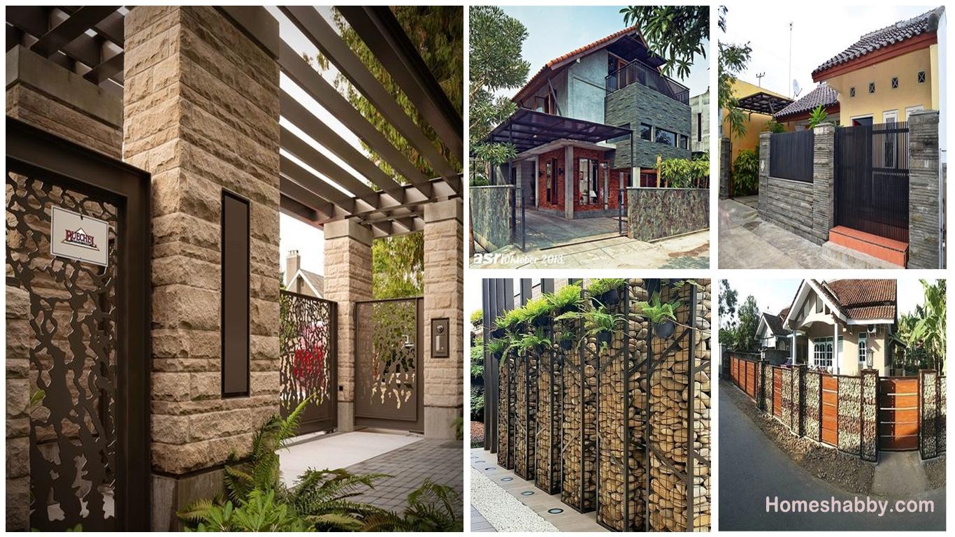 Kumpulan Desain Pagar Rumah Minimalis Dengan Batu Alam Untuk Tampilan Yang Natural Homeshabby Com Design Home Plans Home Decorating And Interior Design