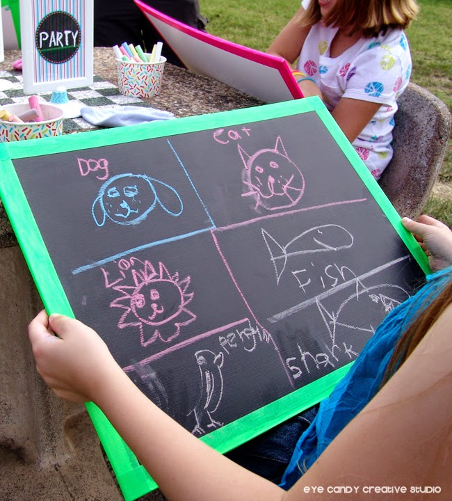 chalkboards as canvas at art party picnic, drawing with chalk, kids chalk