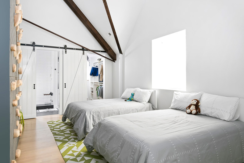 Modern bedroom in Church conversion to chic private home Chicago