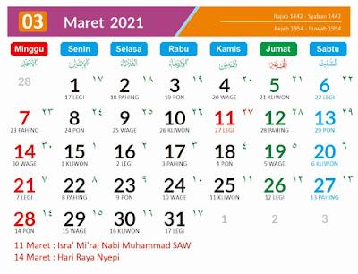 Kalender 2021 Masehi Maret
