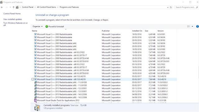 Screenshot Installed Ms Visual C++ Full