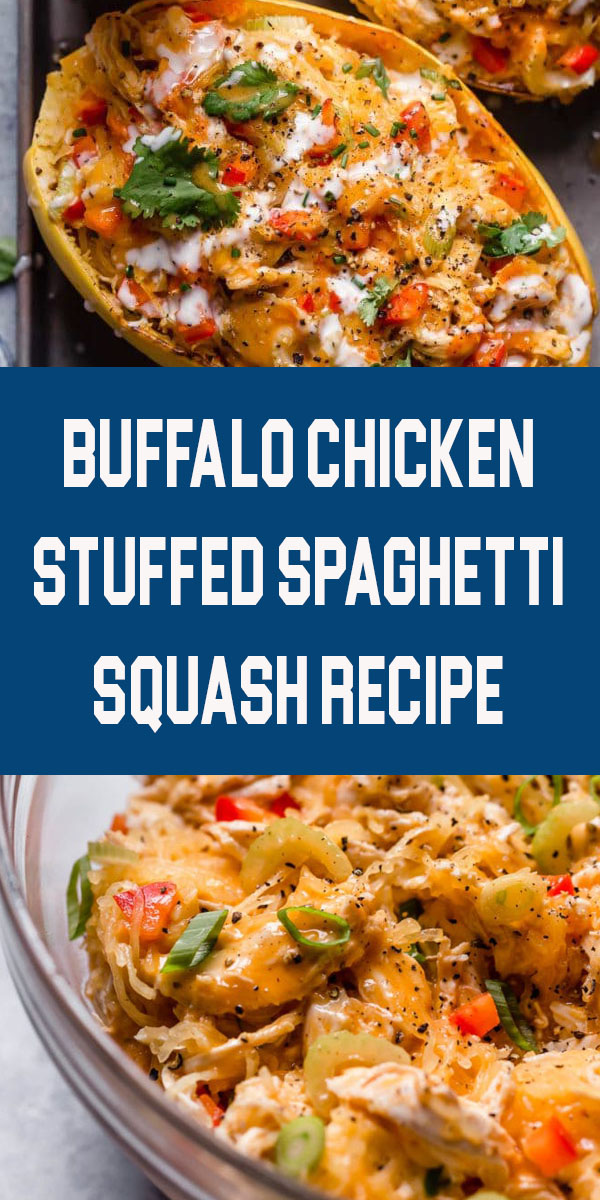 Buffalo Chicken Stuffed Spaghetti Squash | healthy spaghetti squash recipes | whole30 dinner recipe | gluten-free dinner recipe | dairy-free dinner | paleo dinner| easy dinner recipe || The Real Food Dietitians #whole30dinner #spaghettisquashdinner #whole30