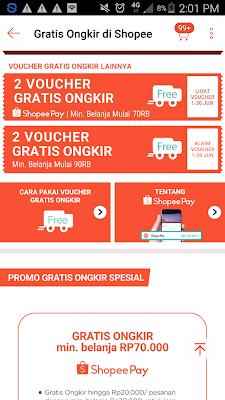 Voucher gratis ongkir dari shopee